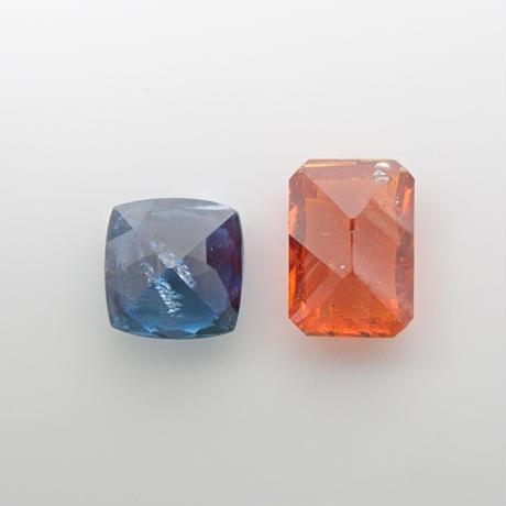 【10/22更新】カイヤナイト2石セット 1.100ct(オレンジ・ブルー)