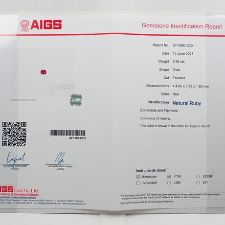 【11/15更新】ピジョンブラッドルビー  0.36ctルース AIGS付