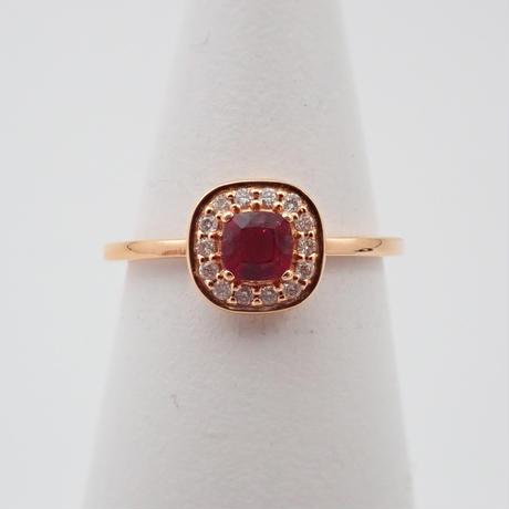 【8/22掲載】K18PGルベライト0.27ct ダイヤモンドリング