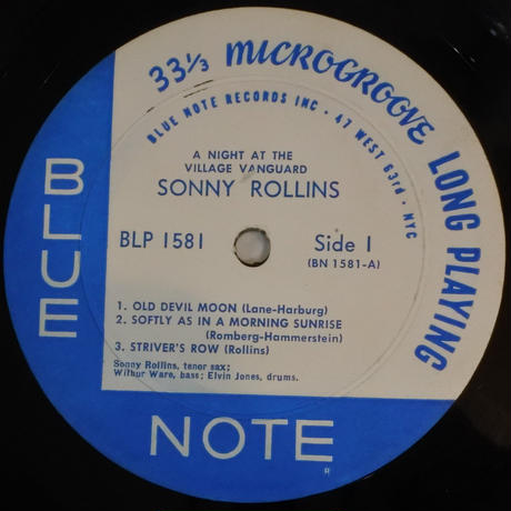 "Sonny Rollins  ‎– A Night At The ""Village Vanguard"" (Blue Note ‎– BLP 1581)mono"