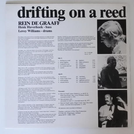 Rein De Graaff  ‎– Drifting On A Reed(Timeless Records ‎– SJP 105)stereo