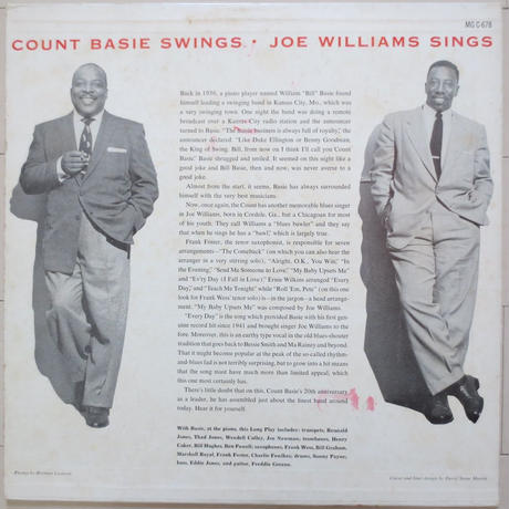 Count Basie / Joe Williams ‎– Count Basie Swings--Joe Williams Sings(Clef Records ‎– MG C-678)mono