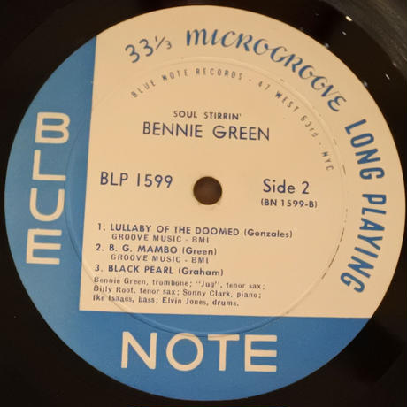 Bennie Green ‎– Soul Stirrin'( Blue Note  - ‎ BLP 1599)mono