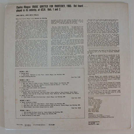 Charles Mingus ‎– Music Written For Monterey 1965... ( East Coasting EC 12.001) mono