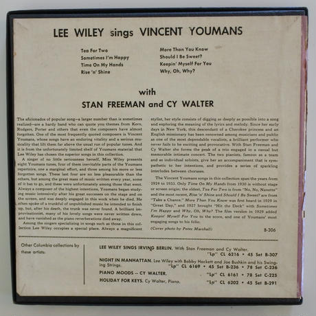 【LP+EPセット】Lee Wiley ‎– Lee Wiley Sings Vincent Youmans( Columbia ‎– CL 6215, B-306)
