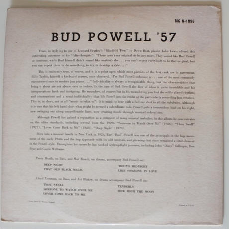 Bud Powell  ‎– Bud Powell '57 (Norgran Records ‎– MG N-1098 )mono