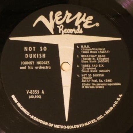 Johnny Hodges / Not So Dukish (Verve MGV 8355) mono