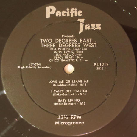 John Lewis ‎– Grand Encounter: 2 Degrees East - 3 Degrees West(Pacific Jazz Records ‎– PJ-1217)mono