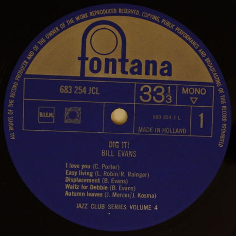 Bill Evans  ‎– Dig It!( Fontana ‎– 683 254 JCL ) mono