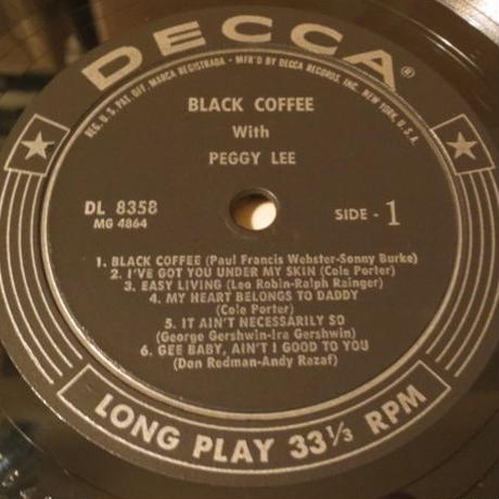 Peggy Lee / Black Coffee With Peggy Lee(Decca – DL8358)mono