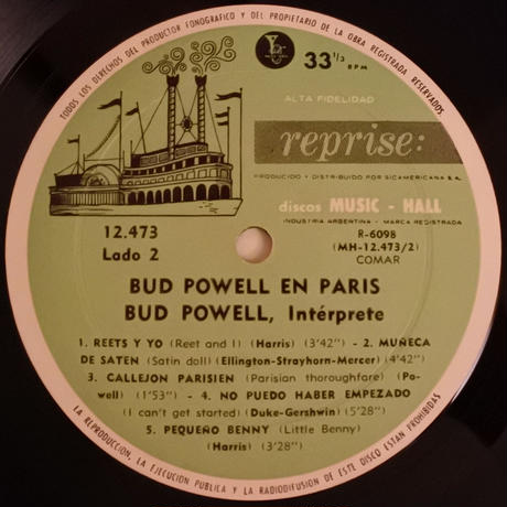 Bud Powell  ‎– Bud Powell In Paris (Argentina  Reprise 12-473) mono