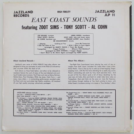 Zoot Sims / Al Cohn / Tony Scott  ‎– East Coast Sounds(JAZZLAND ‎– JLP-11)mono