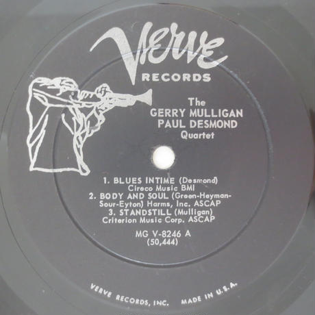 Gerry Mulligan - Paul Desmond Quartet ‎– Gerry Mulligan - Paul Desmond Quartet(Verve  MGV-8246)mono
