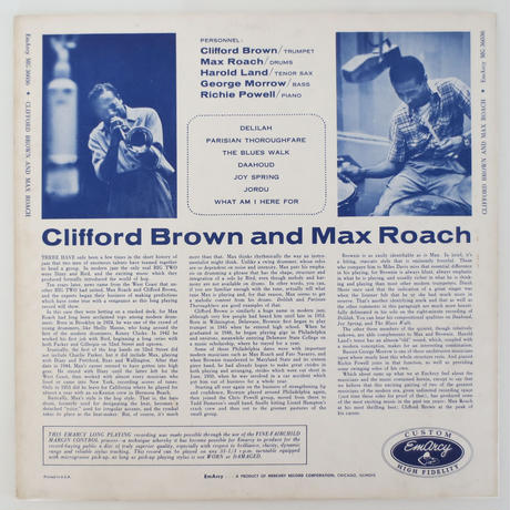 Clifford Brown And Max Roach ‎– Clifford Brown & Max Roach(‎EmArcy – MG 36036)mono