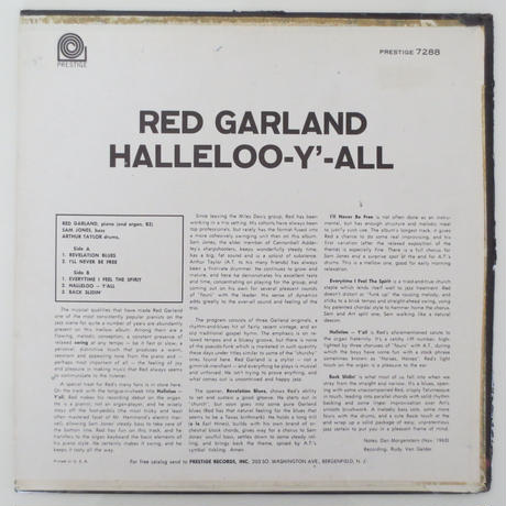 Red Garland ‎– Halleloo-Y'-All(Prestige ‎– PRLP 7288)mono