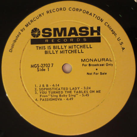 Billy Mitchell ‎– This Is Billy Mitchell(Smash Records ‎– MGS 27027)mono