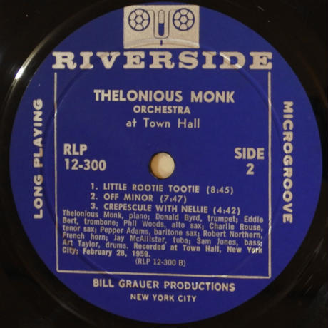 The Thelonious Monk Orchestra ‎– At Town Hall(Riverside Records ‎– RLP 12-300)mono