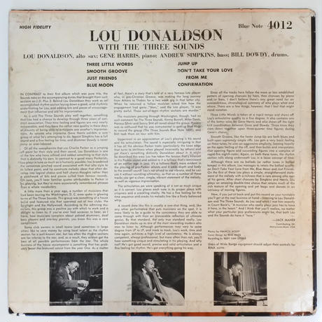 Lou Donaldson with  The Three Sounds  ‎– LD+3 (Blue Note ‎– BLP 4012 )mono
