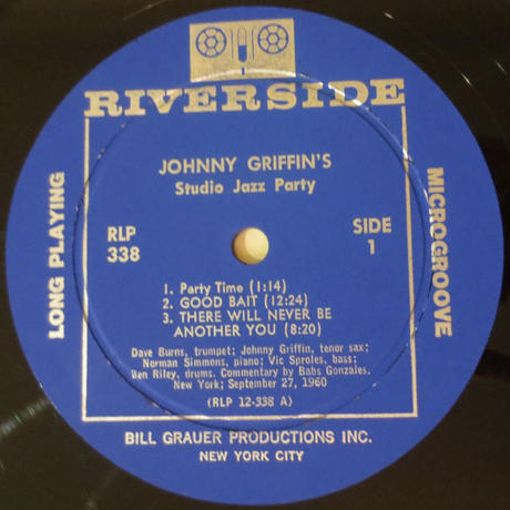 Johnny Griffin ‎– Studio Jazz Party(Riverside Records ‎– RLP-338)mono