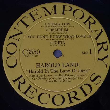 Harold Land  ‎– Harold In The Land Of Jazz(Contemporary Records ‎– C3550)mono