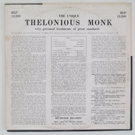 Thelonious Monk ‎– The Unique Thelonious Monk(Riverside Records ‎– RLP 12-209)mono