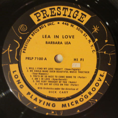 Barbara Lea - Lea In Love(Prestige - 7100)mono