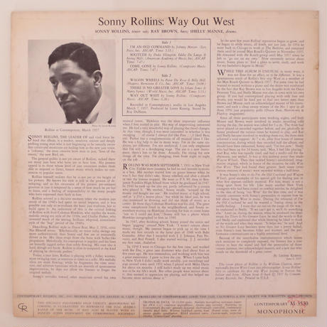 Sonny Rollins ‎– Way Out West(Contemporary Records ‎– C 3530)mono