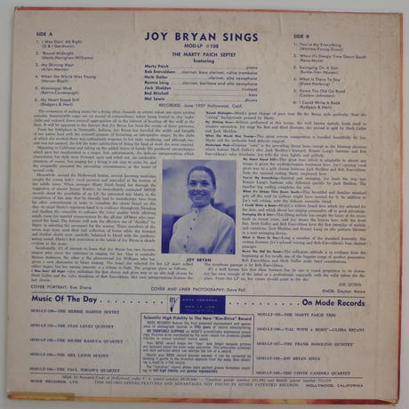 Joy Bryan ‎– Joy Bryan Sings( Mode Records ‎– MOD LP 108)mono