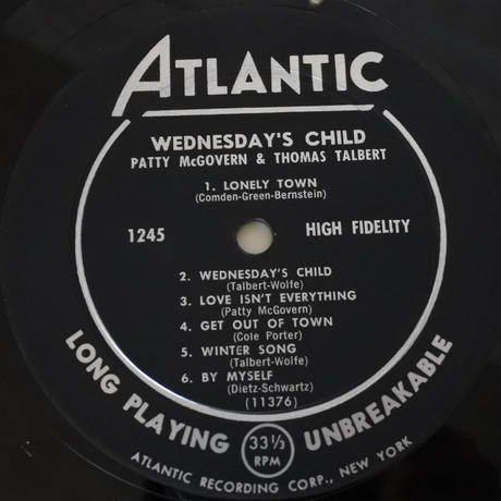 Patty McGovern,  Thomas Talbert  ‎– Wednesday's Child (Atlantic ‎– 1245)mono