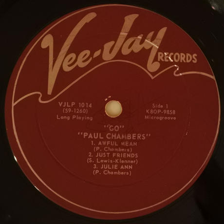 Paul Chambers  ‎– Go(Vee Jay Records ‎– LP 1014)mono