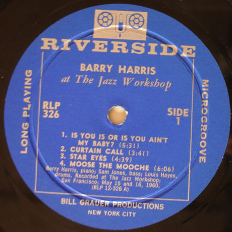 Barry Harris  ‎– At The Jazz Workshop (Riverside Records ‎– RLP 326)mono