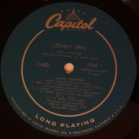 Bob Manning / Lonely Spell (Capital T662) mono