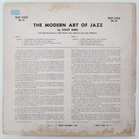Zoot Sims ‎– The Modern Art Of Jazz(Dawn ‎– DLP-1102)mono