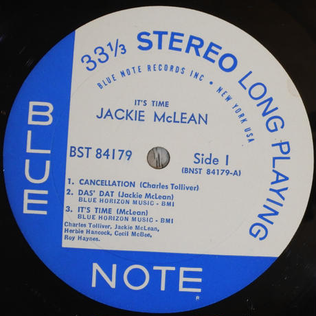 Jackie McLean  – It's Time! (Blue Note – BST 84179)stereo