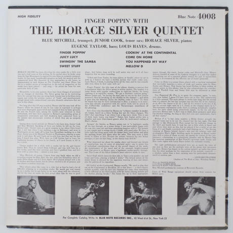 The Horace Silver Quintet / Finger Poppin' With The Horace Silver Quintet (Blue Note 4008) mono
