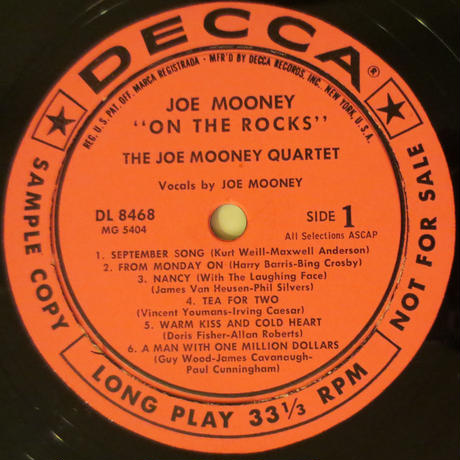 Joe Mooney - On the Rocks(Decca DL 8468)mono
