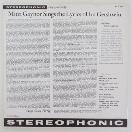 Mitzi Gaynor - Sings the Lyrics of Ira Gershwin(Verve MGVS-6049)stereo