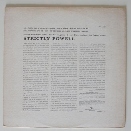 The Bud Powell Trio  ‎– Strictly Powell (RCA Victor ‎– LPM 1423)mono