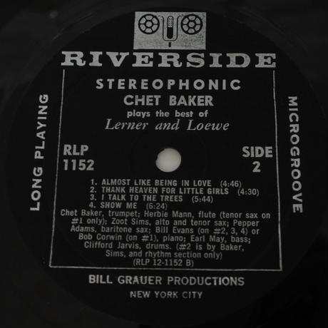 Chet Baker  ‎– Plays The Best Of Lerner & Loewe(Riverside Records ‎– RLP 1152)stereo