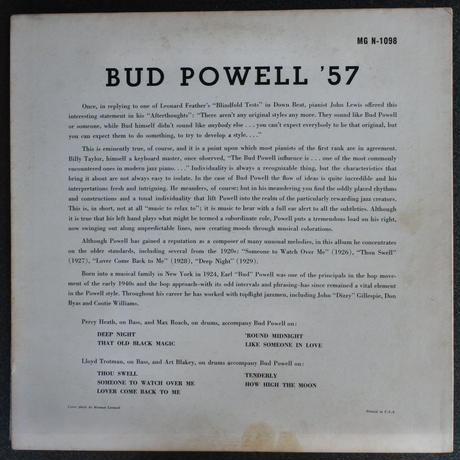 Bud Powell ‎– Bud Powell '57( Norgran Records ‎– MG N-1098)mono