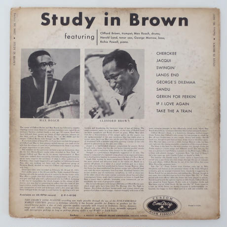 Clifford Brown And Max Roach ‎– Study In Brown(EmArcy ‎– MG 36037)mono