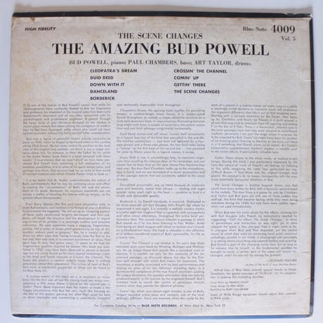 The Amazing Bud Powell ‎– The Scene Changes, Vol. 5(Blue Note ‎– BLP 4009)mono