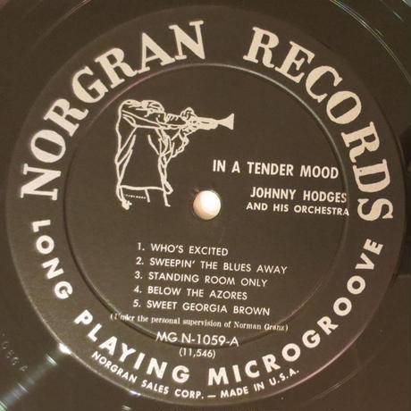 Johnny Hodges And His Orchestra ‎– In A Tender Mood(Norgran Records MG N-1059)mono