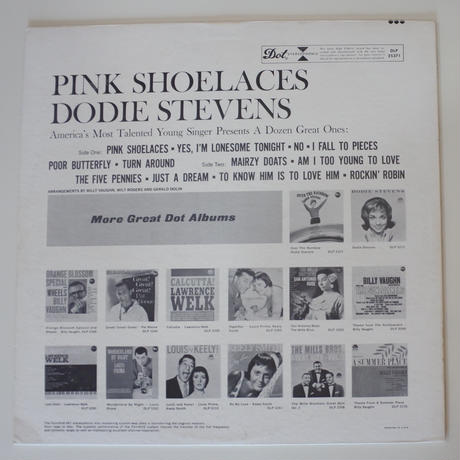 Dodie Stevens  ‎– Pink Shoelaces (Dot Records ‎– DLP 25371 )stereo