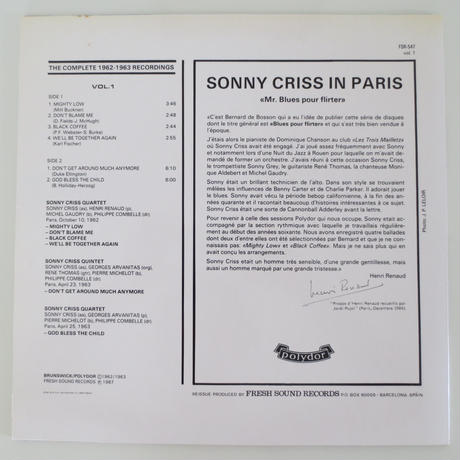 Sonny Criss - Sonny Criss in Paris (Fresh Sound Records/FSR BOX-2) stereo ボックス入りLP2枚組