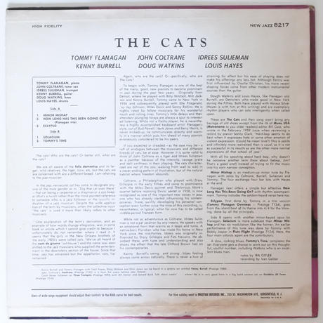 John Coltrane, Tommy Flanagan ‎– The Cats(New Jazz ‎– NJLP 8217)mono