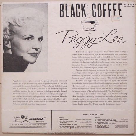 Peggy Lee / Black Coffee With Peggy Lee(Decca ‎– DL8358)mono