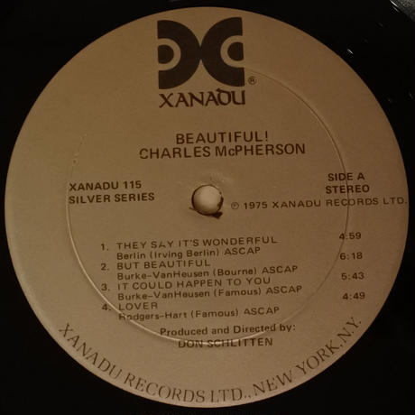 Charles McPherson ‎– Beautiful!(Xanadu Records ‎– Xanadu 115)stereo