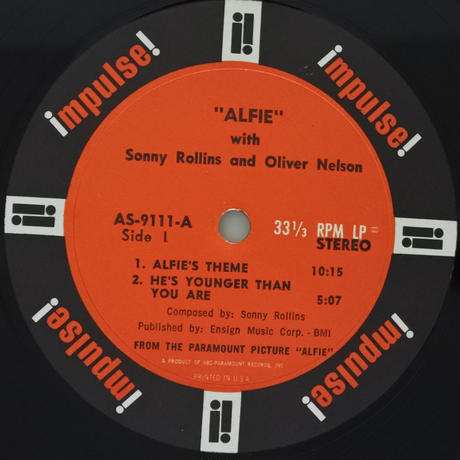"Sonny Rollins ‎– Original Music From The Score ""Alfie""(Impulse! ‎– AS-9111)stereo"