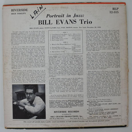 Bill Evans Trio ‎– Portrait In Jazz(Riverside Records ‎– RLP 12-315)mono